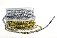 Decoration ribbon gold and silver Stock Image