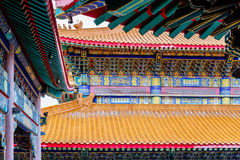Decoration of the roof and wall of a Chinese temple Stock Photo