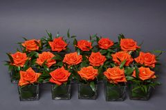 Decoration with roses in glasses Royalty Free Stock Photo