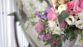 Decoration from roses at the wedding stock footage