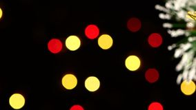 Decoration - a round shiny gold toy on christmas stock video footage