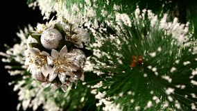 Decoration - a round toy like flowers on christmas stock footage