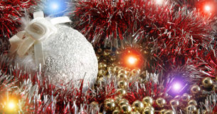 Decoration`s. White sphere against other ornaments for a fur-tree Stock Photos