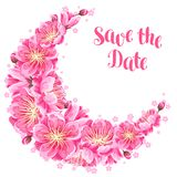 Decoration with sakura or cherry blossom. Save the date. Floral japanese ornament of blooming flowers Royalty Free Stock Photo