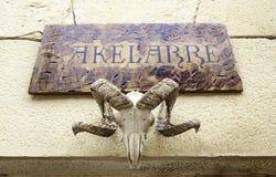 Decoration satanic. Detail of a goat skull, celebration of witchcraft Royalty Free Stock Photo