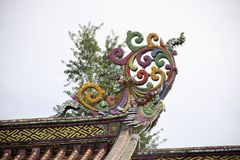 Decoration sculpture and carving colorful art roof of chinese shrine at Kaiyuan Temple at Teochew city in Guangdong, China. Decoration design and sculpture and royalty free stock photos