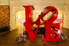 Decoration sign love with red letters Stock Photos