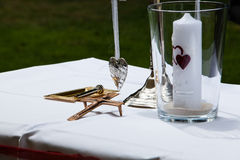 Decoration. Silver decorative items and candle Royalty Free Stock Image