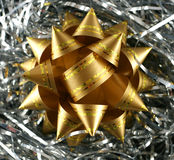 Decoration on silver tinsel Royalty Free Stock Images