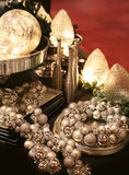 Decoration on silver tray Stock Photos