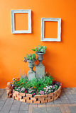Decoration of small garden with frames Stock Images