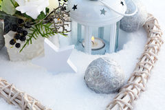 Decoration in snowy garden Royalty Free Stock Photo