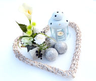 Decoration in snowy garden Royalty Free Stock Image