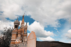 Decoration of St. Basil's Cathedral. On the background of cloudy sky Royalty Free Stock Images