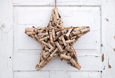 Decoration star made of short branches Stock Photo