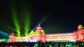 Diamond jubilee celebration of legislative building of karnataka,india. Decoration of state legislature building of karnataka ,vidhana soudha with colourful Stock Images
