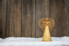 Decoration with a straw handmade angel Stock Photography