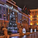 The decoration of the streets of the city. Before the new year in St. Petersburg stock images