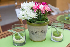 Decoration of summer garden table Royalty Free Stock Photo