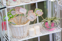 Decoration table. Decoration for bithday party or wedding day Stock Photo