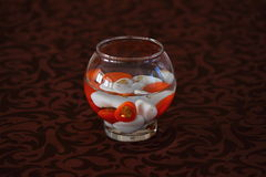 Decoration on the table. Table decorated with glass stones of different colors Royalty Free Stock Images