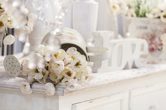 Decoration table with flowers Royalty Free Stock Photo