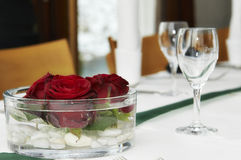 Decoration. Table decoration with red roses stock images