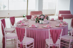 Decoration of tables at the wedding Stock Photography