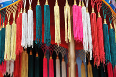 Decoration tassels. Detail look of colorful chinese decoration tassels Stock Photography