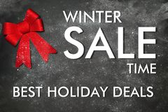 Decoration with text Winter sale. Time Best holiday deals Stock Photos