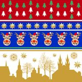 Creative set of Christmas patterns. Trees, golden stars, winter city landscape. Decoration for textile design, cards, party invitation, packaging royalty free illustration
