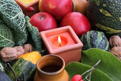 Decoration for Thanksgiving with fruit and vegetab Royalty Free Stock Images