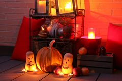 Halloween still life illuminated with candles. stock photography