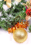 Decoration toys on new year tree branch Royalty Free Stock Images