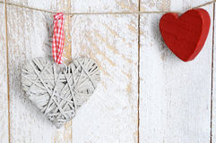 Decoration two heart on wooden background. Christmas decoration handmade heart-shaped. Space for text Royalty Free Stock Images