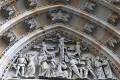 Decoration of tympanum St. Vitus Cathedral Stock Images