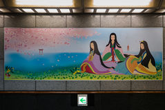 Decoration in underground Cross Street Tunnel to the building of Royalty Free Stock Photos