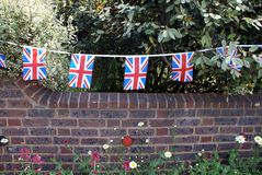 Decoration of Union Jack flags. The flag of the United Kingdom of Great Britain and Northern Ireland, commonly known as the Union Jack or Union flag Stock Images