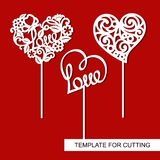Set of cake toppers. Hearts. Decoration for Valentine`s Day. Template for laser cutting, wood carving, paper cut and printing Stock Images