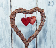 Decoration vintage wicker heart Stock Images