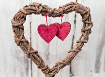 Decoration vintage wicker heart Royalty Free Stock Photography