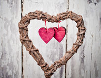 Decoration vintage wicker heart Royalty Free Stock Photos