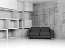 Decoration on the wall and black leather sofa, 3d. Abstract interior, concrete office room with white cubic relief decoration on the wall and black leather sofa Royalty Free Stock Photography