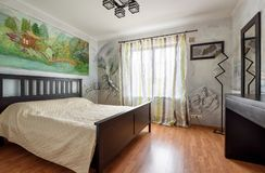 Decoration with wall paintings of a bedroom modern interior Stock Photos