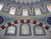 Decoration on walls inside a mosque. The decoration on walls inside a mosque in Turkey royalty free stock photography
