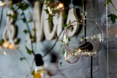The decoration of the wedding area bride and groom.The inscription mr mrs over the table. The decoration of the wedding area bride and groom. The inscription mr stock photography