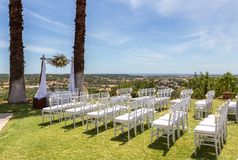 Decoration of the wedding ceremony with a beautiful view of sea. stock image