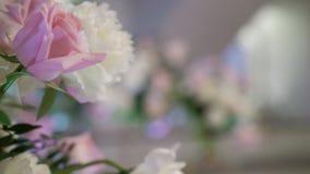 Decoration at wedding ceremony. Indoors stock video