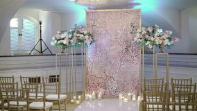 Decoration at wedding ceremony. Indoors stock footage