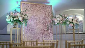Decoration at wedding ceremony. Indoors stock video footage